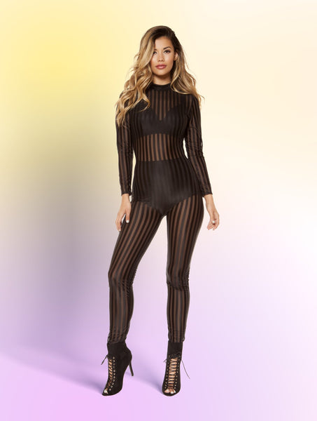 Romper Semi-Sheer Striped Mesh Jumpsuit