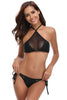 Black Halter Mesh Insert Self-tie Bikini Swimsuit