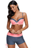 Peach Grey Bicolor Patchwork Underwired Bikini Swimsuit