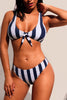 Navy White Striped Tie Front Detail Bikini Swimsuit