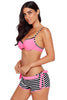Pink Wrinkled Bra Striped Bikini Bottom Swimsuit
