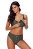 Olive Zip Front 2pcs Bikini Sporty Swimsuit