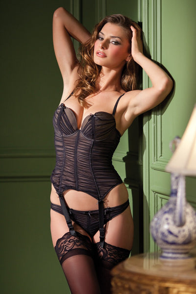 2-Piece Bustier with ruffled tulle garter