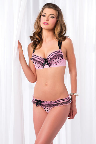 2-Piece Mesh bra with printed hearts and frills