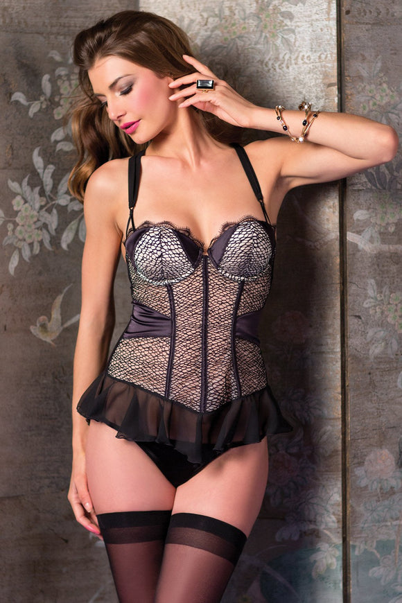 1-Piece chiffon, lace and cobweb mesh Cami Suspender
