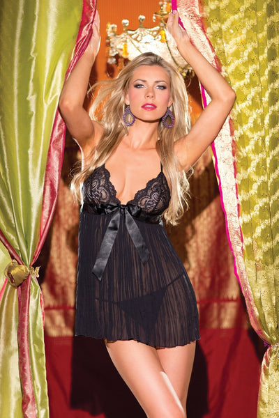 2-Piece Pleated Babydoll with Empire Waist