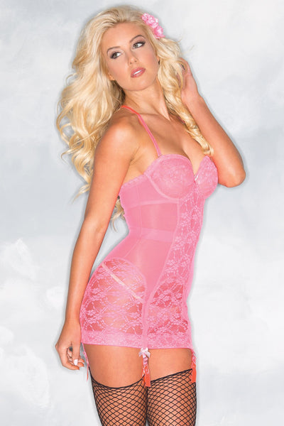 1-Piece Hot Pink Lace Cami Suspender