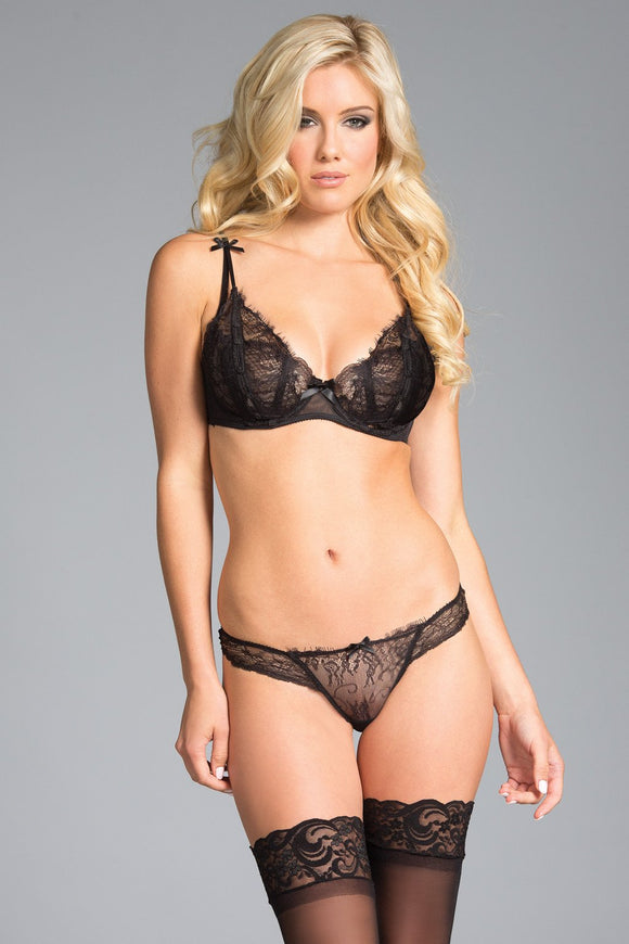 2-Piece Sheer Lace Bra with Light Underwire cups