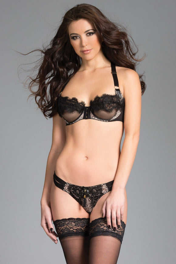 2-Piece Racer-Back mesh cupped Bra with eyelash lace trim