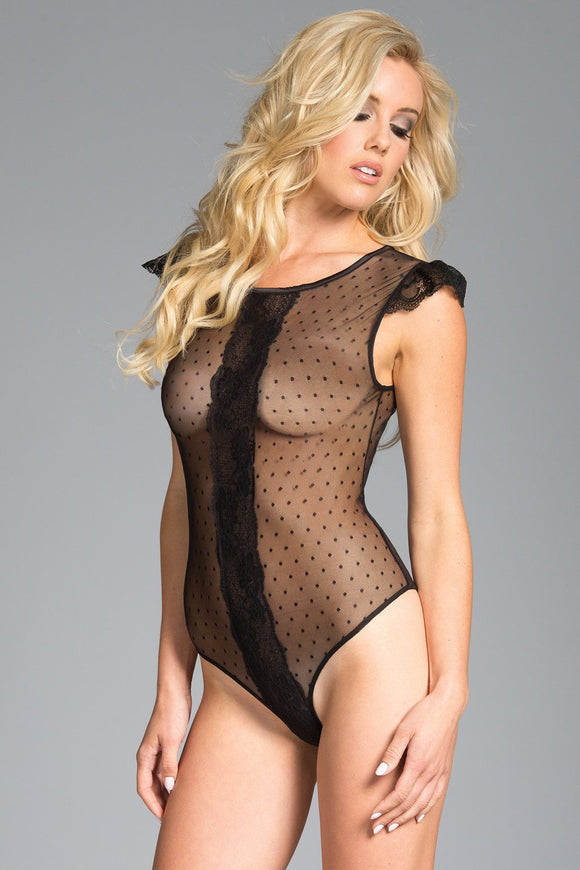 Bodysuit 1-Piece Sheer polka dot mesh