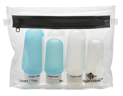 Eagle Creek Silicone Bottle Set - Clear/Aqua