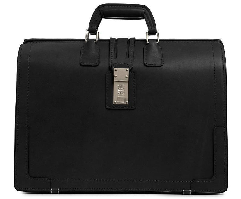 Korchmar Classics Churchill Belting Leather Briefcase - Black-Luggage Pros