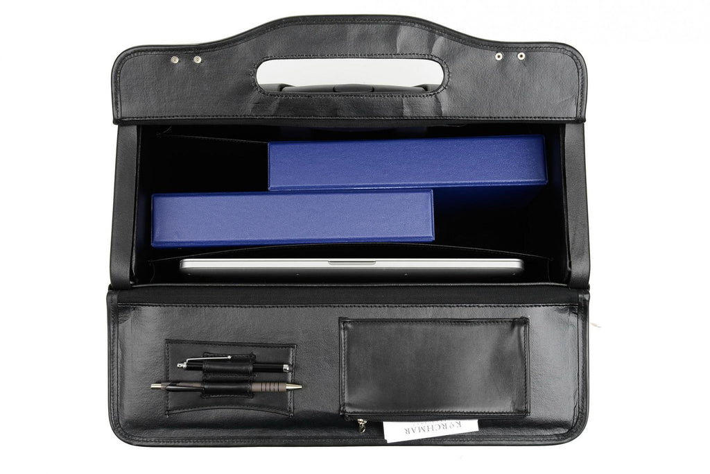 Korchmar Classics MobileMax Leather Wheeled Catalog Case - Black