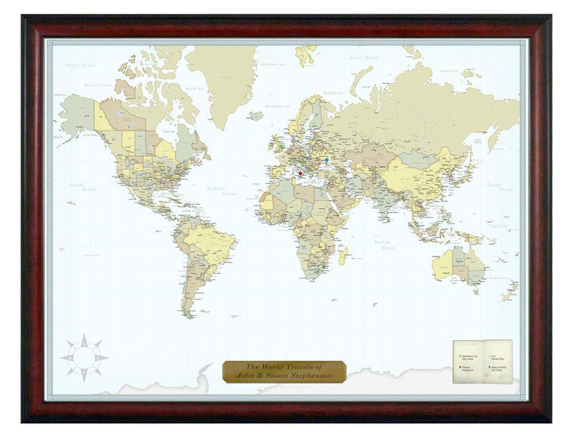 Luggage Pros Personalized Classic World Travel Map-Luggage Pros