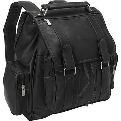 Piel Leather Double Loop Flap-Over Laptop Backpack