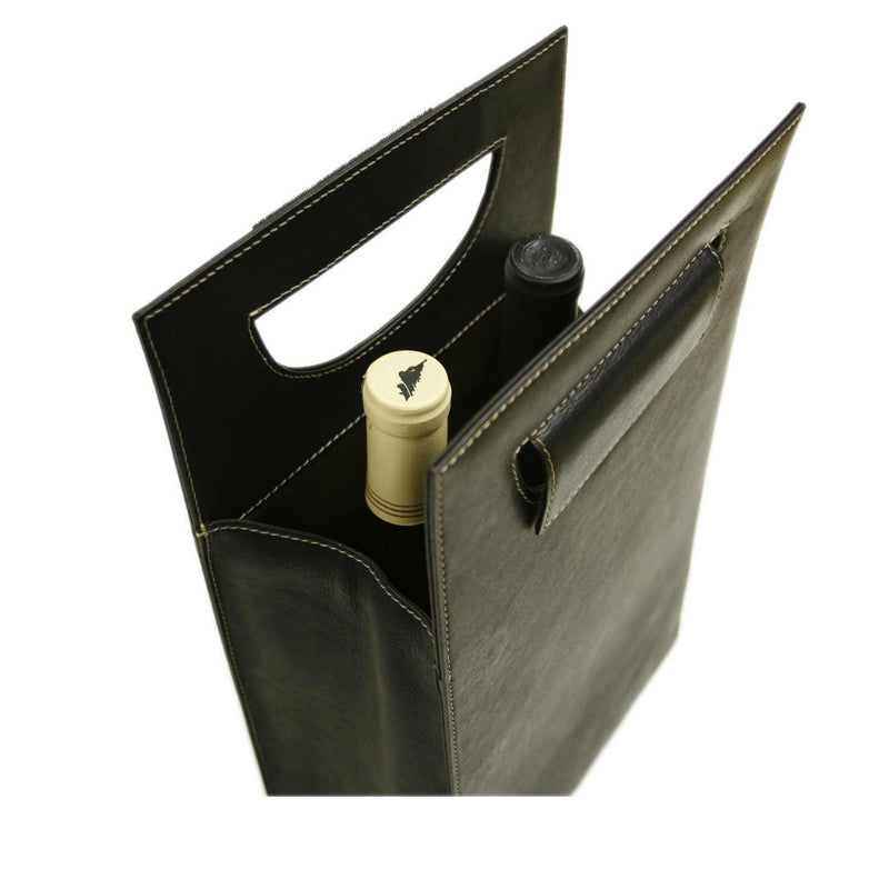 Piel Leather Double Wine Carrier-Luggage Pros
