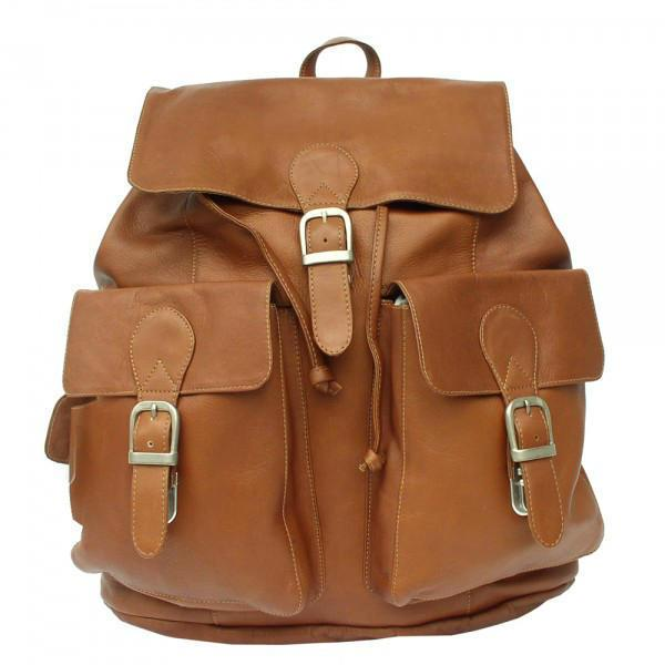 Piel Leather Large Buckle-Flap Backpack-Luggage Pros