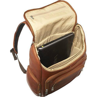 Piel Leather Multi-Pocket Laptop Backpack