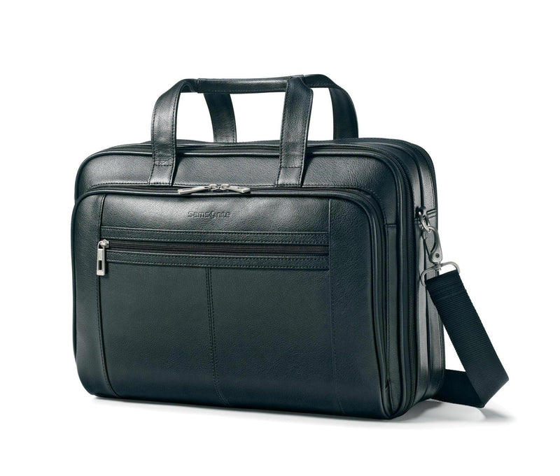 Samsonite Leather Checkpoint Friendly Brief - Black-Luggage Pros