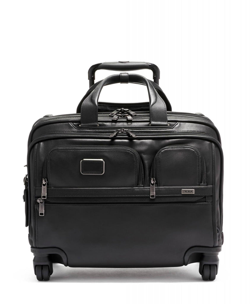 TUMI Alpha 3 Deluxe Leather 4 Wheel Laptop Case Brief