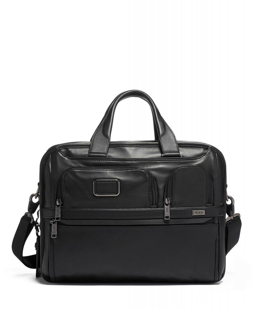 TUMI Alpha 3 Expandable Organizer Leather Laptop Brief