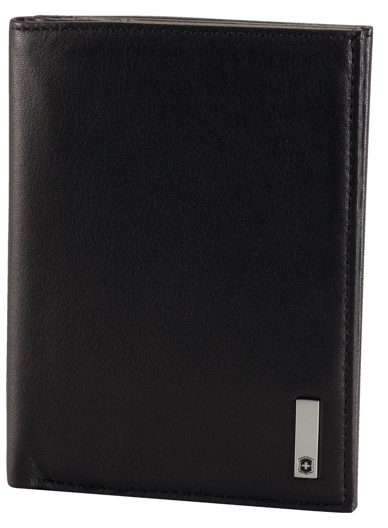 Victorinox Altius 3.0 Grenoble Leather Vertical Bi-Fold Wallet with European ID Window - Black-Luggage Pros