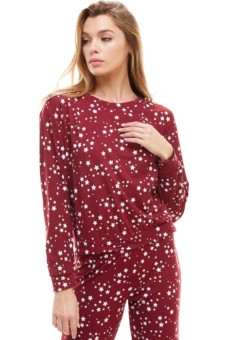 SLEEPY CREWNECK | BURGUNDY STARDUST