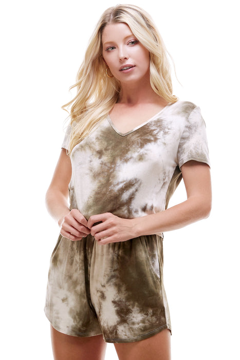 SLEEPY CROPPED T-SHIRT | OLIVE TIE-DYE