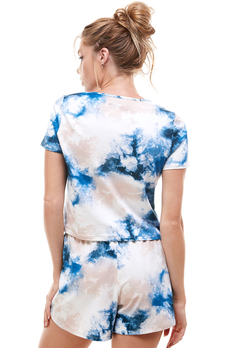 SLEEPY CROPPED T-SHIRT | DENIM TIE DYE