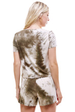 Load image into Gallery viewer, SLEEPY CROPPED T-SHIRT | OLIVE TIE-DYE