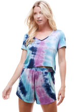 Load image into Gallery viewer, SLEEPY CROPPED T-SHIRT | BLUEBERRY TIE-DYE