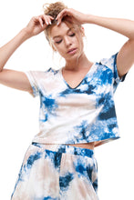 Load image into Gallery viewer, SLEEPY CROPPED T-SHIRT | DENIM TIE DYE - BLACK FRIDAY