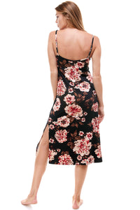 MIDI SLIP DRESS | BLACK PEONIES