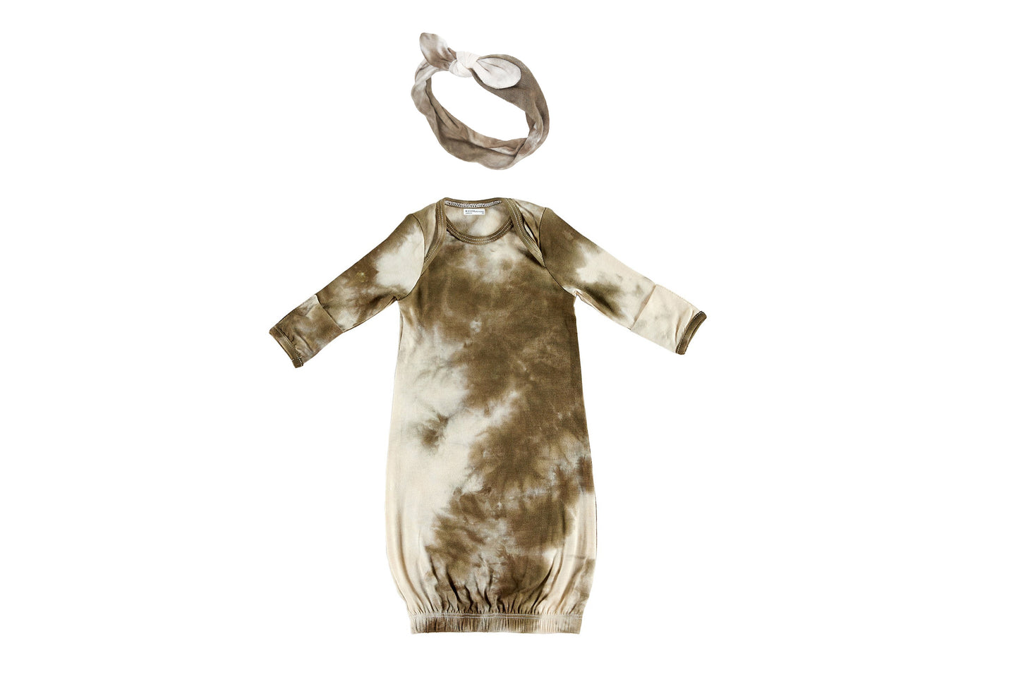 BABY BUNDLE | HEADBAND & GOWN | OLIVE TIE DYE