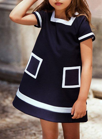 Preppy Style Short Sleeve Loose-Fitting Pocket Design Dress