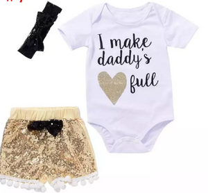 """I make daddy's heart full"" 3 piece set"
