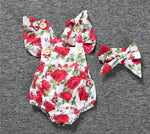 Red & white romper with floral pattern