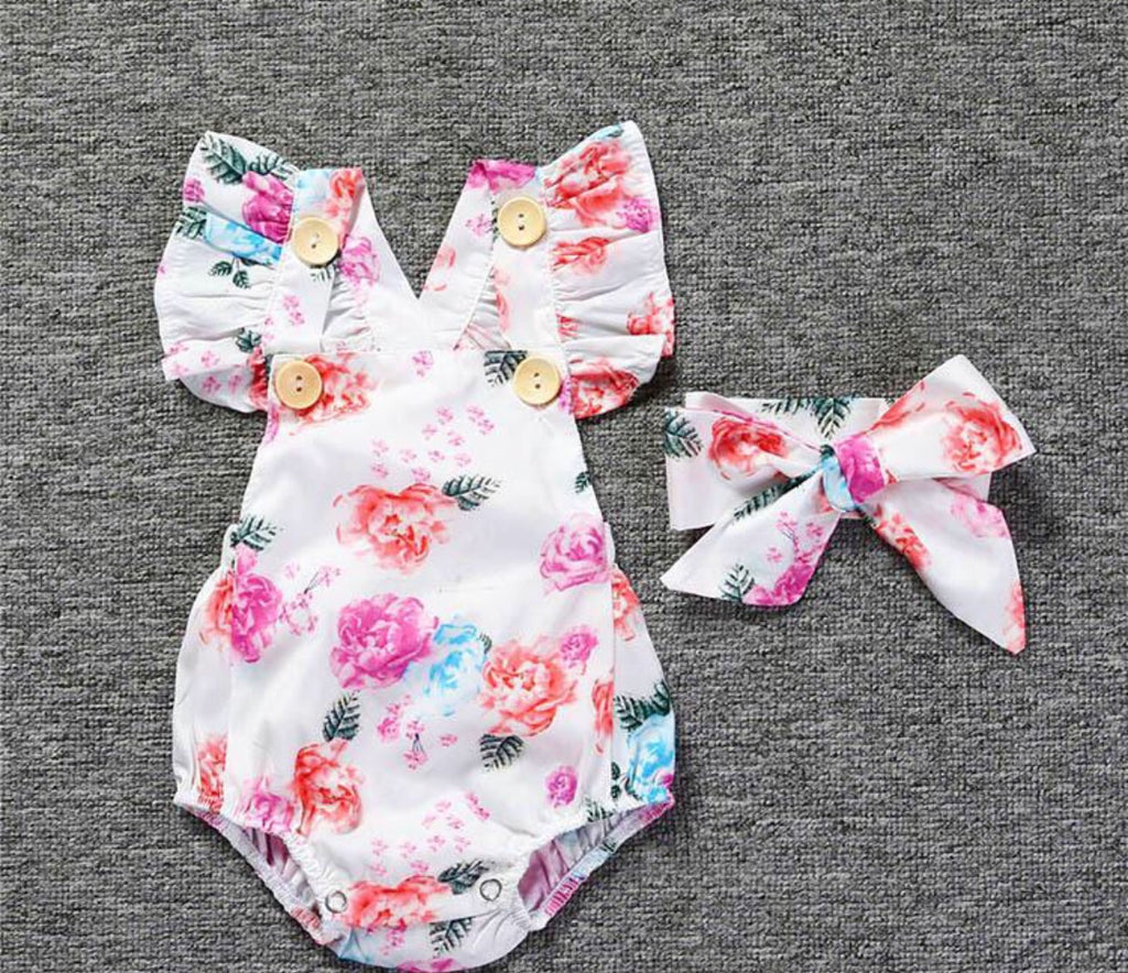 White romper with floral pattern