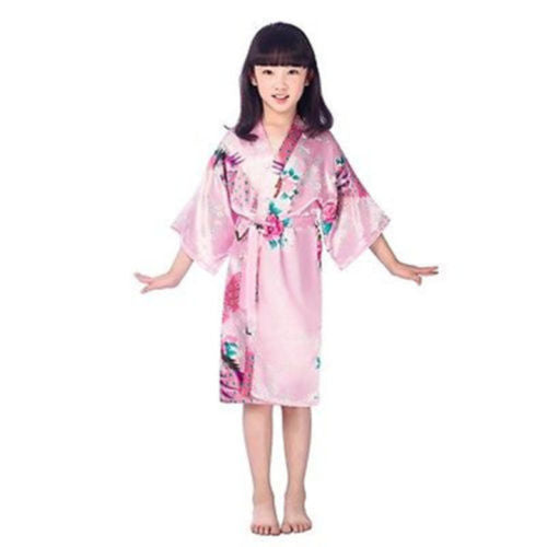 Pink Girls Silk Robe