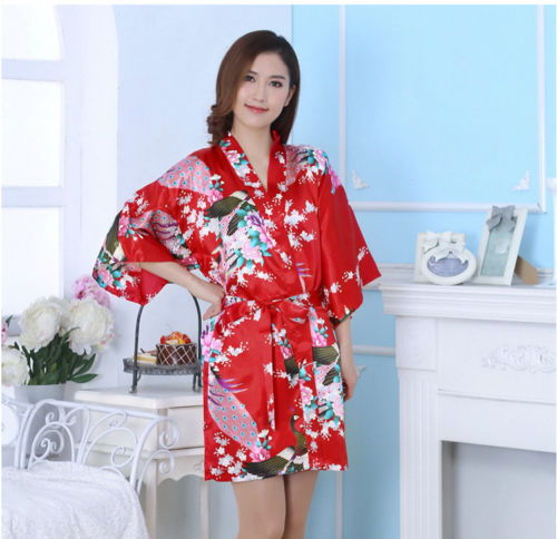 Red Adult Silk Robe