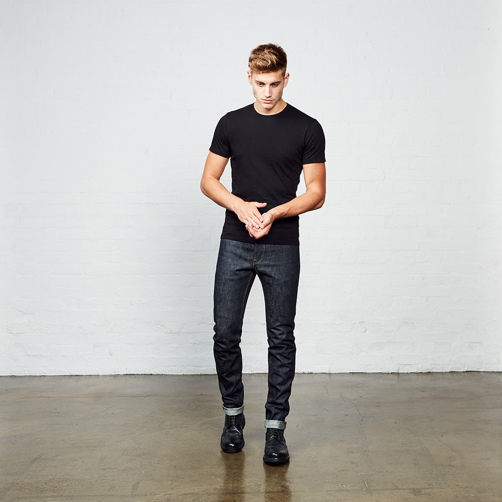 Men's Skinny Fit Japanese Selvedge Denim Jeans | Indigo | Made in Wales | Hiut Denim Co. - Front