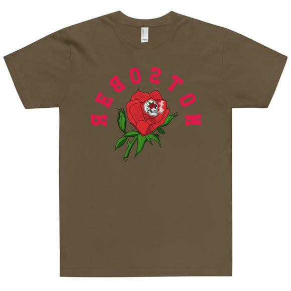 Short Sleeve T-Shirt - Made in the USA - Long Stem Rose -  Reboston T-Party Shirt Shop