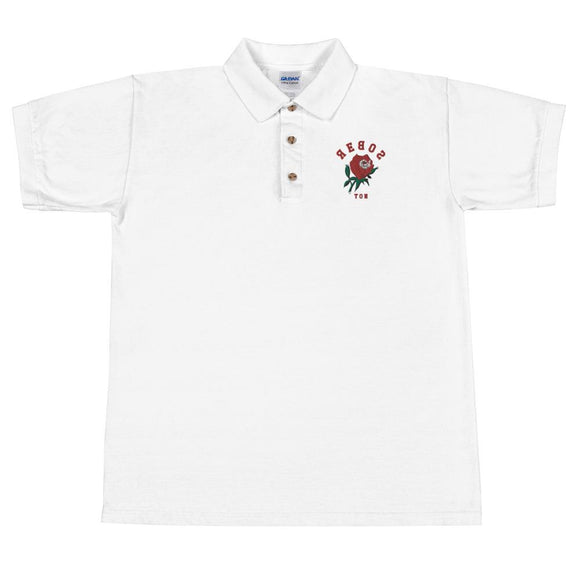 Embroidered Polo Shirt - Long Stem Rose -  Reboston T-Party Shirt Shop