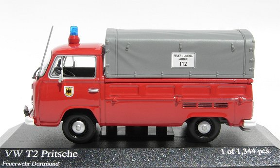 Minichamps 1:43 VW T2 Pick up ,Fire Dept Dortmund 400-053290 [W1G]