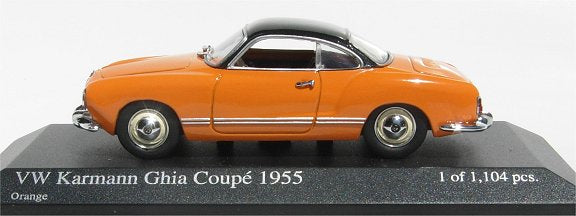 Minichamps VW Karmann Ghia Coupe 1955 orange with black top 430-051026 [W1E]