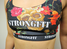 Load image into Gallery viewer, Strongfit sports bra Skulls and Flowers