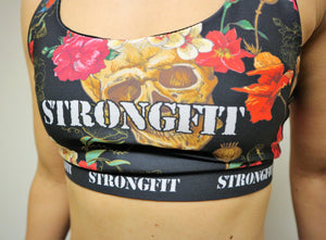 Strongfit sports bra Skulls and Flowers