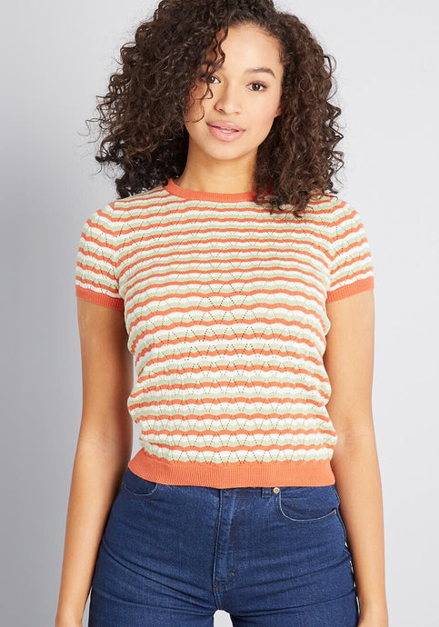 Multi Stripe Pointelle Short Sleeve Sweater - Sweaters - PICNIC