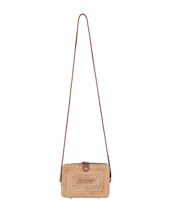 Rectangle Rattan Crossbody Handbag - Handbags - PICNIC