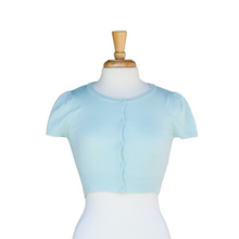 Load image into Gallery viewer, Cropped Cardi with Cap Sleeves - Ice Blue - Sweaters - PICNIC
